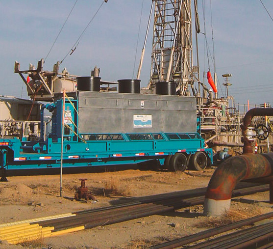 Drill Cool's Geo-Cooler mud cooler in action on drilling site