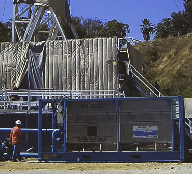 Drill Cool's Geo-Cooler mud cooler in action on drilling site in Los Angeles