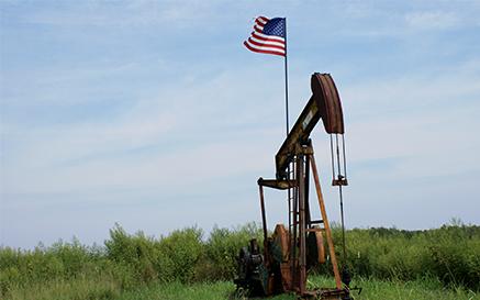 US Flag on a Pumpjack