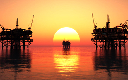 Oil Rigs in a Myanmar Sunset